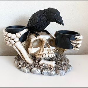Skull and Crow Candle Holder